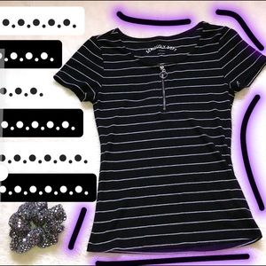 Aeropostale striped fitted ribbed tee